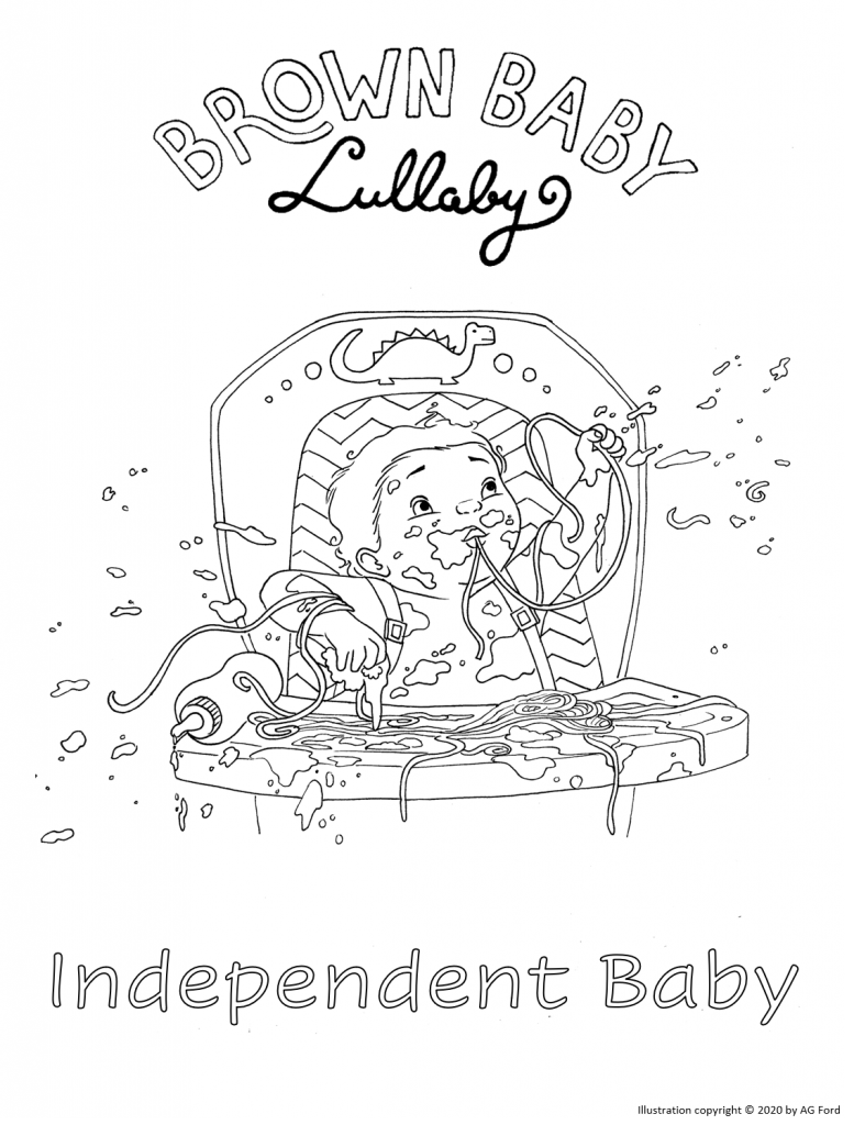 """""""Independent Baby"""" coloring sheet from BROWN BABY LULLABY"""